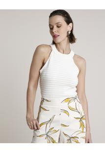 Regata Feminina Halter Neck Texturizada Em Tricô Off White