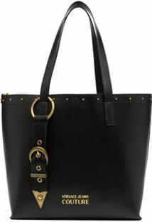 Versace Jeans Couture Bota Tote De Couro Com Detalhe De Fivela - Preto