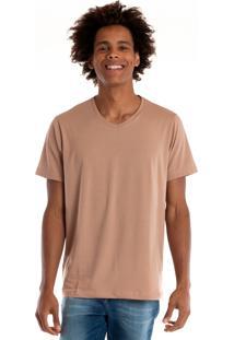 Camiseta Decote V Manga Curta Marrom Claro