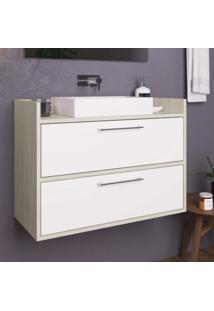 Gabinete Para Banheiro 2 Portas Bosco Estilare Móveis Branco/Madeirado