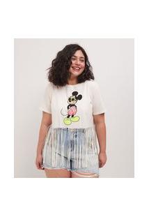 Blusa Manga Curta Com Franjas Na Barra E Estampa Do Mickey Curve & Plus Size | Ashua Curve E Plus Size | Branco | Gg