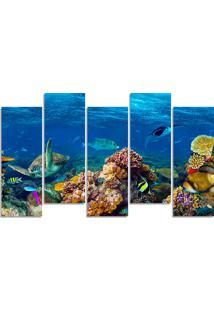 Quadro Decorativo Para Sala Quarto Oceano Coral Tartaruga - Multicolorido - Dafiti