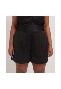 Short Liso Em Crepe Com Pregas Curve & Plus Size | Ashua Curve E Plus Size | Preto | Eg