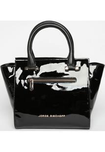 Bolsa Em Couro Envernizada - Preta- 24X36X12Cmjorge Bischoff
