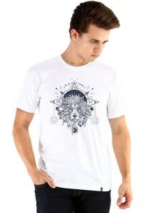 Camiseta Ouroboros Manga Curta Leão Mystico - Masculino-Branco