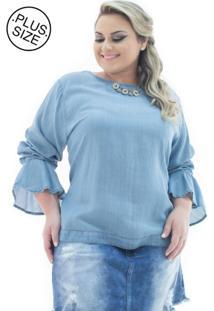 40689d651a ... Blusa Plus Size - Confidencial Extra Jeans Manga Longa Flare Azul