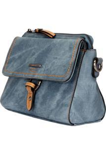Bolsa Crossbody Mormaii Com Tampa E Detalhe Costura Grossa - 44717 Azul