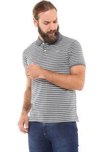Camisa Polo Yachtsman Reta Listrada Cinza/Off-White