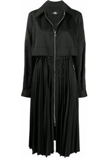 Karl Lagerfeld Pleated Zip-Up Trench Coat - Preto