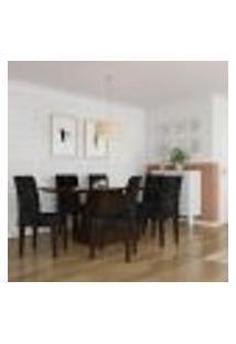 Conjunto De Mesa De Jantar Maria Ii Com Vidro E 6 Cadeiras Grécia Suede Castor E Preto
