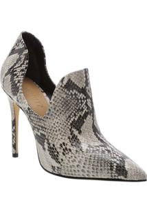 Ankle Boot Com Textura Animal - Off White & Pretaschutz