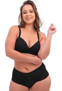 Conjunto De Calcinha E Sutiã Sigh Plus Size Renda Feminino - Feminino-Preto