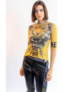 Blusa Caos Tule Silk Grl Pwr Visionary Feminina - Feminino-Amarelo