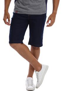 Bermuda Jeans Bamborra Denim Slim Com Lycra Escura Azul