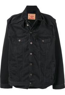 Y / Project Jaqueta Jeans Com Sobreposição - Preto