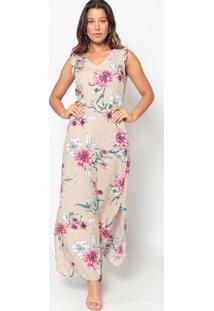 Vestido Longo Floral- Nude & Rosa- Vip Reservavip Reserva
