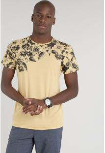 Camiseta Masculina Com Estampa Floral Manga Curta Gola Careca Mostarda