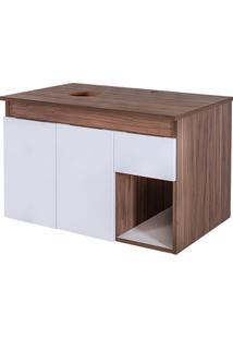 Gabinete Para Banheiro Em Mdf Artesan 47X75Cm Branco E Gris Montano