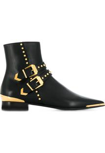 Versace Buckle Stud Ankle Boots - Preto