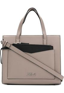 Karl Lagerfeld Bolsa Tote K/Pocket Pequena - Cinza