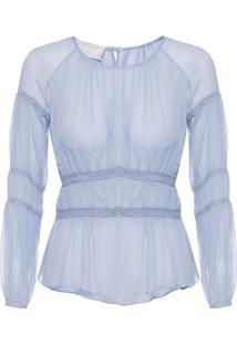 Blusa Feminina Cropped Franzido Chiffon - Azul