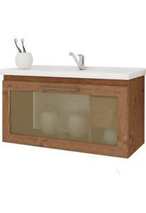 Gabinete De Banheiro Hibisco 1 Pt 1 Gv Amêndoa 79 Cm