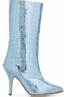 Paris Texas Bota Metálica Com Efeito Pele De Crocodilo - Azul