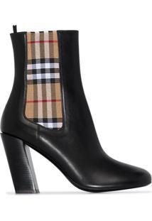 Burberry Ankle Boot Com Detalhe De Xadrez Vintage E Salto 90Mm - Preto