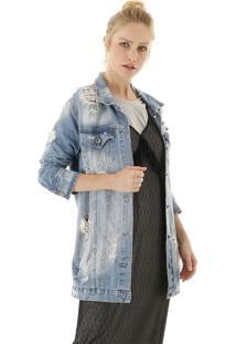 Jaqueta Over Jeans Com Efeito Destroyed E Bolsos Frontais Superiores E Inferiores - Azul - Feminino - Dafiti