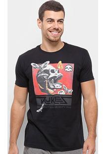 Camiseta Silk Skull Moth Rukes Masculina - Masculino-Preto