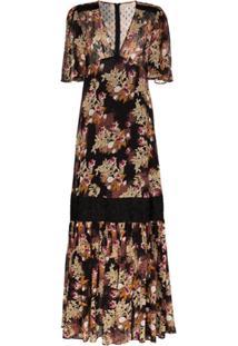Bytimo Vestido Longo Com Estampa Floral - Preto