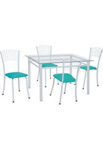 Conjunto De Mesa Com 4 Cadeiras Marília Corino Azul E Branco - Única