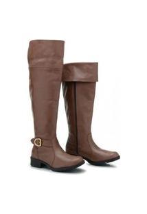 Bota Over The Knee Atron Shoes Feminina Couro Confortável Café 33 Café