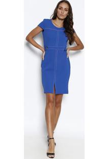 Vestido Texturizado Com Pespontos- Azul & Branco- Nonolitta