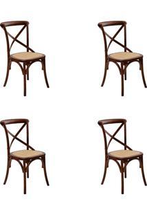 Kit 04 Cadeiras Katrina Madeira Escura Rivatti