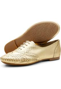 Sapato Oxford Casual Em Couro Yes Basic 15360 Ouro