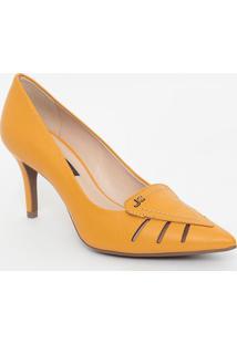 Scarpin Em Couro Com Vazado- Amarelo- Salto: 8Cmjorge Bischoff