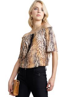 Blusa Mx Fashion Ombro A Ombro Animal Print Ellie Amarelo