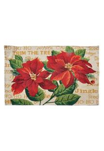 Jogo Americano Flor Mesa Natalina 38 X 48 Cm Cor Vermelho