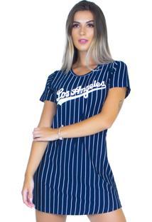Vestido Camisa Longline Bravaa Modas Los Angeles Camisão 284 Azul