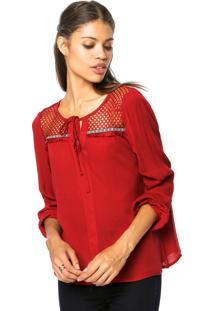 Blusa Top Orange Crochê Vermelha