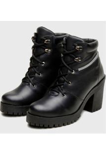 Coturno Ankle Boot Feminino Em Couro Na Cor Preta Atron Shoes