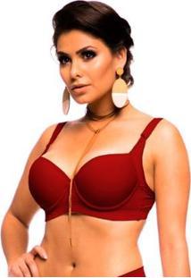 Sutiã Sempre Sensual Lingerie Reforçado Com Abas - Feminino-Vermelho