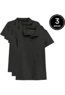 Kit 3 Camisas Polo Basicamente Feminino - Feminino-Preto