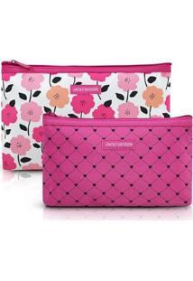 Kit De Necessaire Jacki Design De 2 Peças Quadrada Feminino - Feminino-Pink
