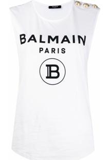 Balmain Blusa Sem Manga Com Botões E Estampa De Logo - Branco