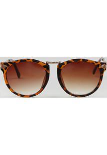 Óculos De Sol Redondo Feminino Tartaruga Marrom - Único