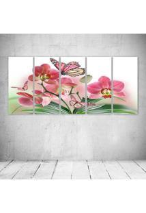 Quadro Decorativo - Flowers Butterflies Butterfly Soft Bokeh - Composto De 5 Quadros - Multicolorido - Dafiti