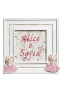 Quadro Princesa Gemêas Bebê Infantil Menina Potinho De Mel Rosa