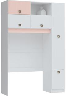 Guarda-Roupa Closet Modulado Like 4 Pt 1 Gv Branco E Rosa Blush